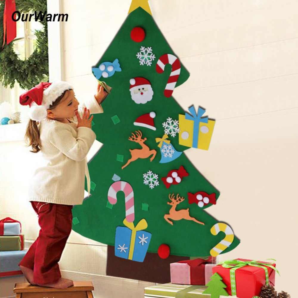 Ourwarm sentiu árvore de natal com ornamentos 2019 criança ano novo brinquedos diy artesanato artificial árvore decorações de natal para casa