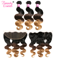 Brésilienne Vierge Cheveux Corps Vague de Cheveux Humains Weave 3 Bundles Avec Fermeture 1b/4/27 Ombre Dentelle Frontale fermeture Avec des Faisceaux