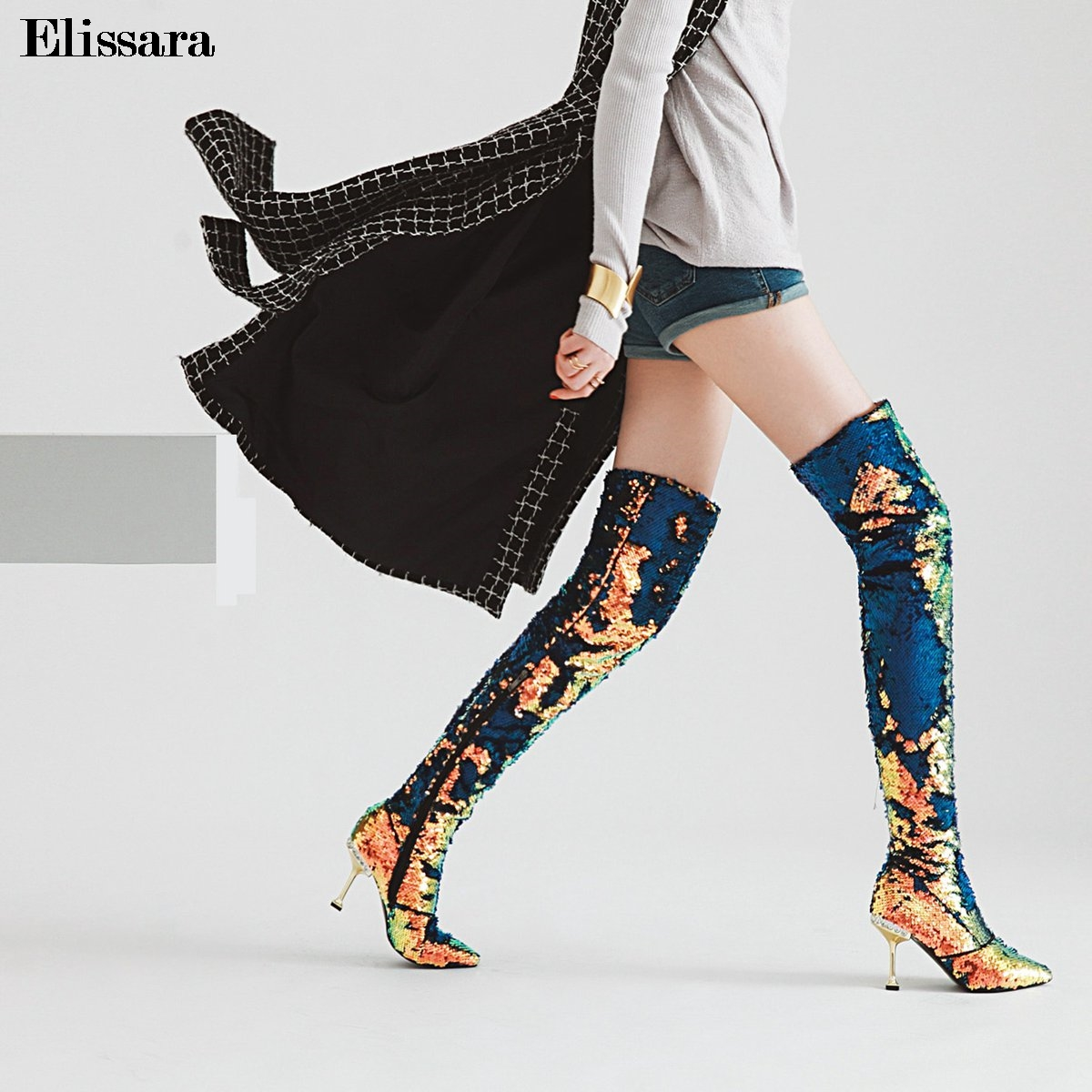 Women High Heels Thigh High Boots Shoes Woman Glitter Bling Gradual Change Color Zip Pointed Toe Boots Shoes Size 33-43 Elissara elissara women ankle boots women high heels boots ladies zip high quality denim pointed toe shoes plus size 33 43