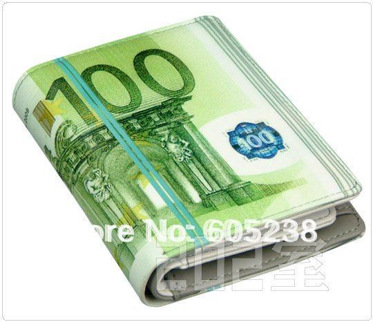 Free shipping 100 EURO BILL MONEY WALLET MAN WALLET GEEK WALLET