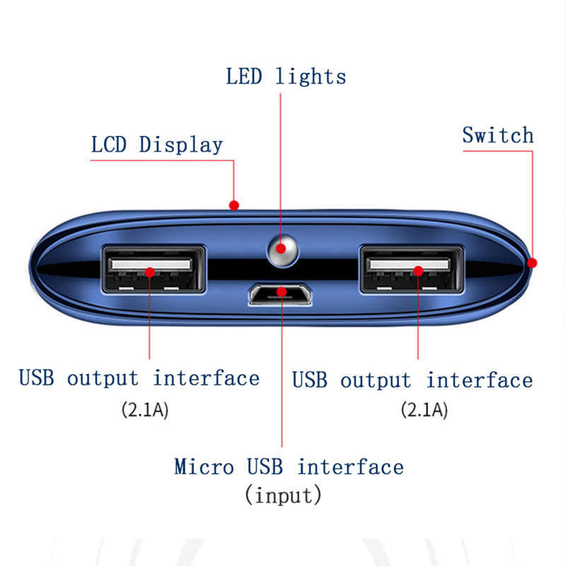 30000mah قوة البنك بطارية خارجية poverbank 2 USB mi ني شاحن محمول متنقل ل شياو mi mi iphone 8 هواوي الهاتف المحمول