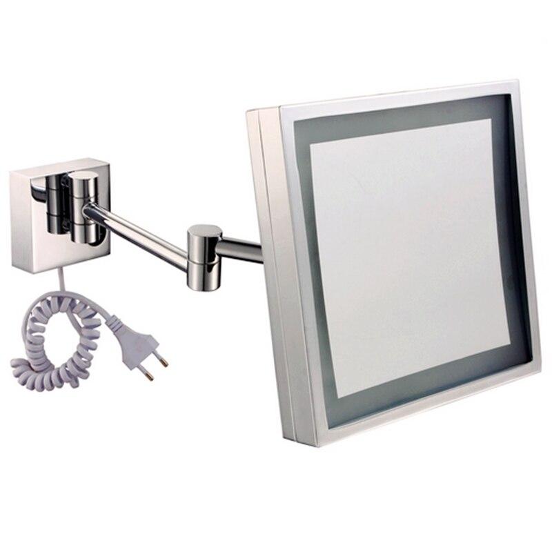 HighQuality Складаны Высоўны падсветкай LED люстэрка ў ваннай касметычны люстэрка, рамка металу Матэрыялы Павелічэнне Люстэркі.