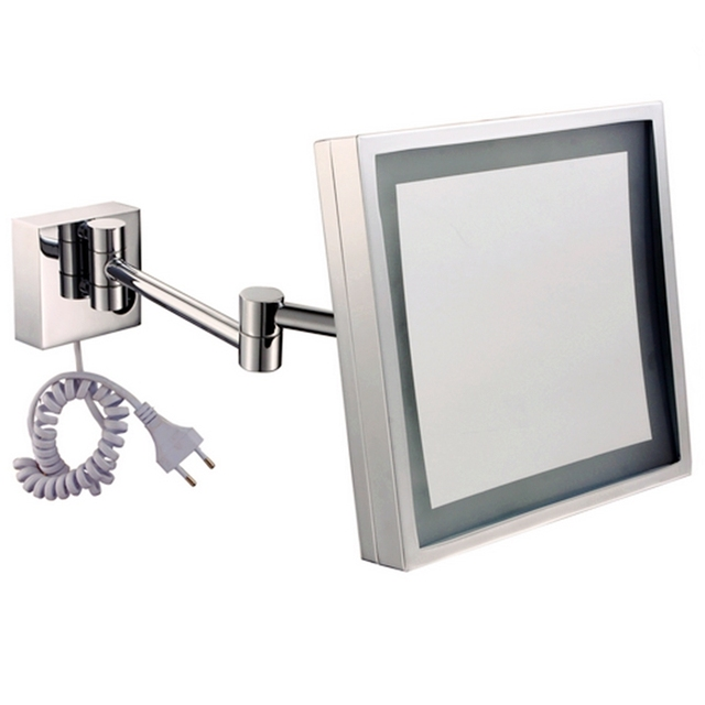 Highquality Folding Retractable Illuminated Bathroom Mirror Led Cosmetic Metal Frame Materials Magnification Mirrors