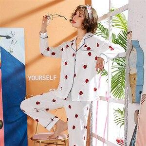 Image 5 - JULYS 歌女性の綿のパジャマセット春秋冬長袖パジャマ印刷パジャマ女性のための 2 個ホームウェア