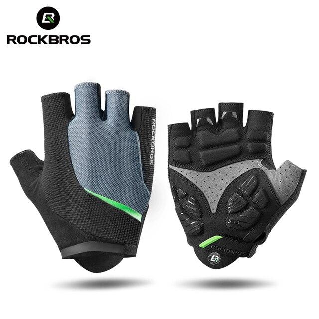 Rockbros luvas de ciclismo metade do dedo gel luvas de bicicleta mtb da motocicleta anti-choque respirável elástico masculino luvas esportivas roupas 1