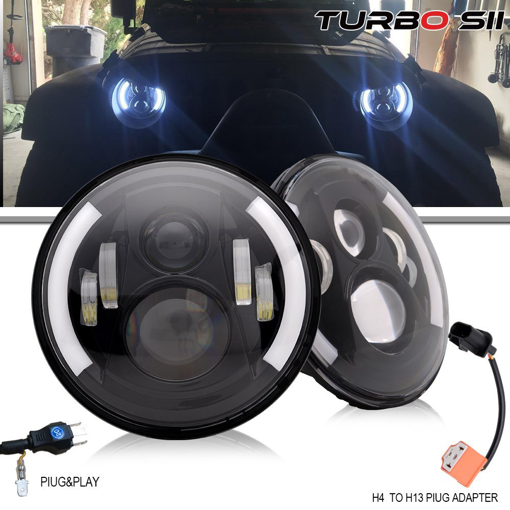 7Inch Round LED Headlights Angel Eyes With DRL Amber Turn Singal Hi/Lo Beam for truck