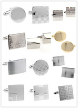 Promotion! Cufflinks Fashion wholesale&retail men design silver color copper material for men Smooth cufflinks