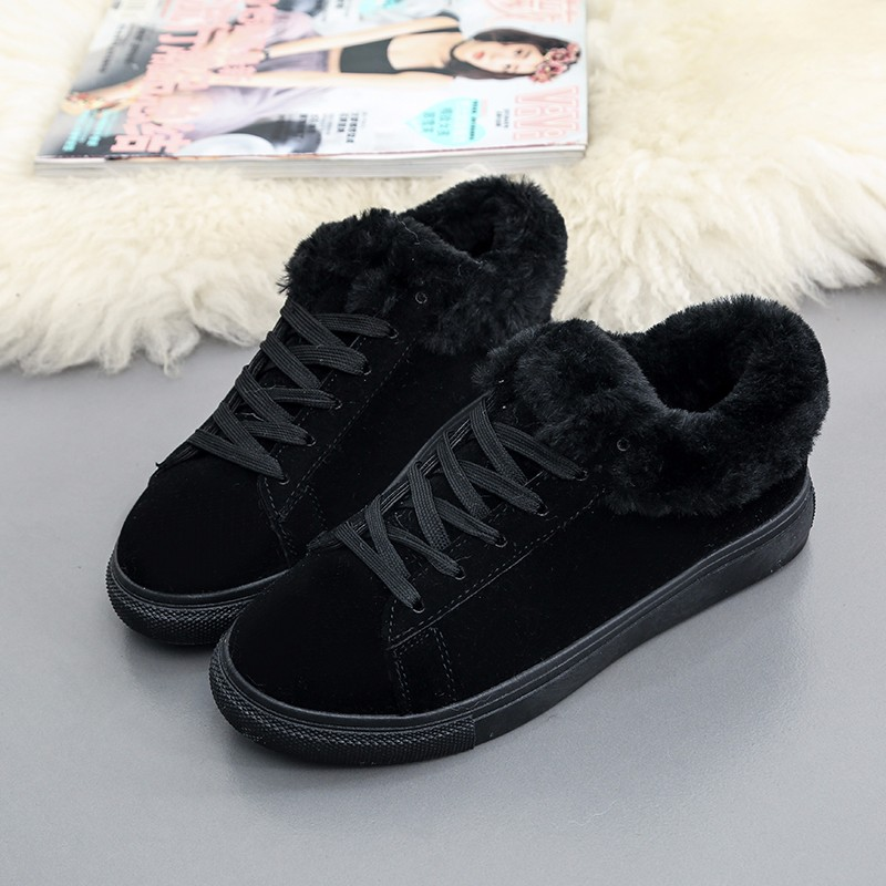 Women Flats For Winter Plush Warm Shoes Casual Flat Heels Lace Up Ladies Shoes Size 35-40 Black Gay Pink Fashion Fur Shoes NX5 (17)