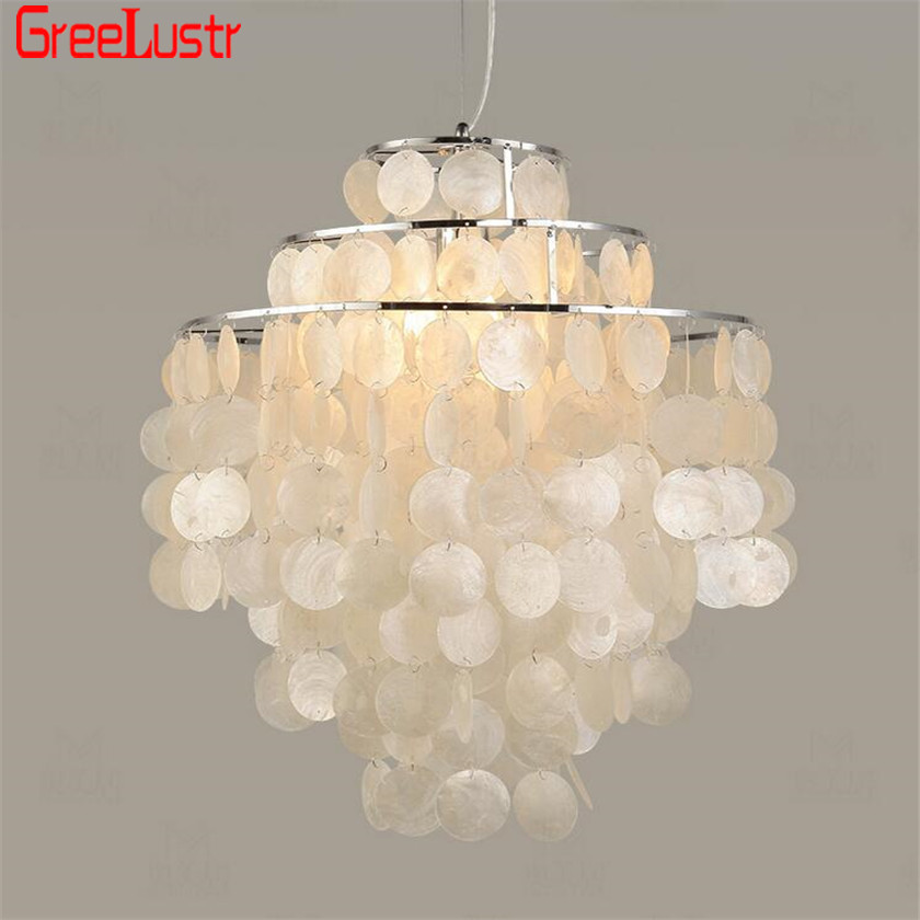 buy online 1d7be cb6c8 US $82.98 40% OFF|Modern Nordic Seashell Pendant Lights White Shell Hanging  Lighting fixture E27 Lights 3 Layer DIY Pendant Lamp for Home Decor-in ...