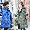 Высокое качество 90% утка вниз 2016 детские пуховики пальто Парки натуральный мех Большой мальчик Outerwears толстые пуховые зима-40 градусов