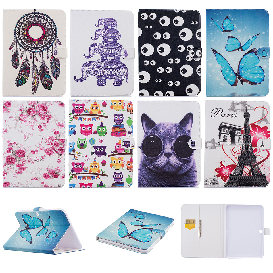 купить Fashion Butterfly Cat Pattern Leather Flip Case Funda For Samsung GALAXY Tab 4 10.1 SM-T530 T531 Tablet Back Cover Coque DP00E недорого