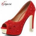 12 cm utrl Tacones Altos 2015 Nueva Sexy Nightclub peep toe zapatos Rojos de la boda bombas Mujer Novia de La Boda y La fiesta de Diamante zapatos