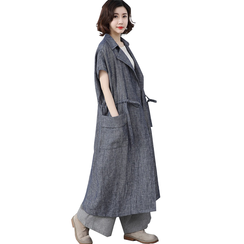 Long Trench Coat Spring Summer Short Sleeve Coat Women Cotton Linen Loose Trench