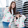 2017 new floral hoodies matching mother daughter clothes family look clothing girls women sweatshirt mommy and me clothes