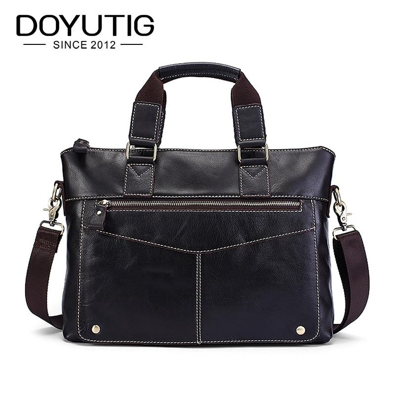 DOYUTIG European Design Genuine Leather Business Briefcases For Men New Laptop Messenger Bag Men's Cow Leather Shoulder Bag G114