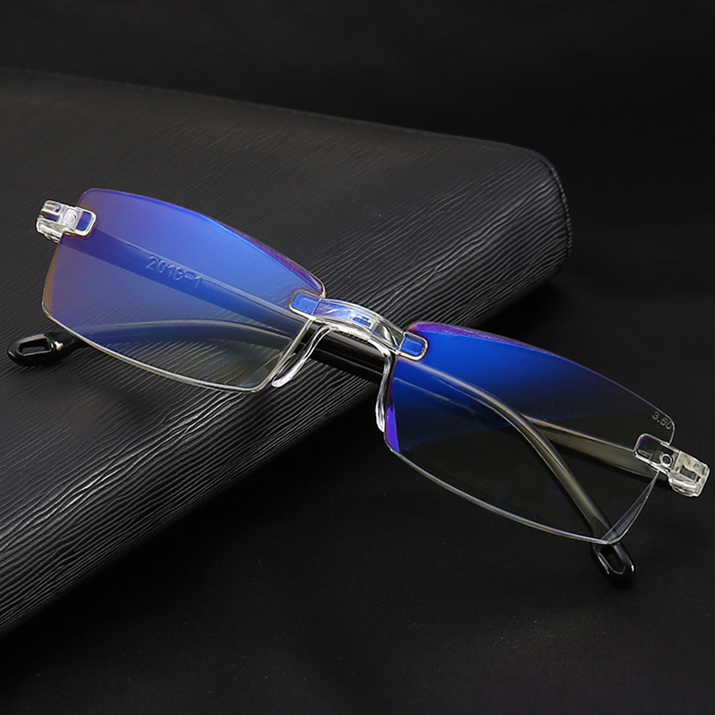 1.50 3.0 4.0 For Men Women Elderlyanti Blue Light Reading Glass Beneficial To Essential Medulla 2.0 2.50 100% True Frameless Diamond Trimming Reading Glasses+1.0