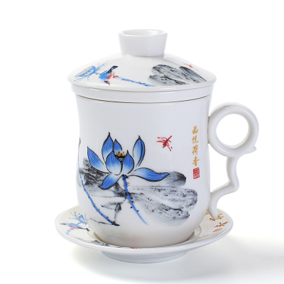 Blue and White Porcelain Ceramic Office Tea Cup With Lid Filter Individual Mugs and Saucers