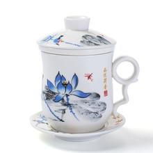 Blau und Weiß Porzellan Keramik Büro Teetasse Mit Deckel Filter Individuelle Tassen und Untertassen