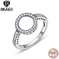 BISAER 100 Genuine 925 Sterling Silver Forever Clear CZ Circle Round Wedding Bands Finger Rings Women