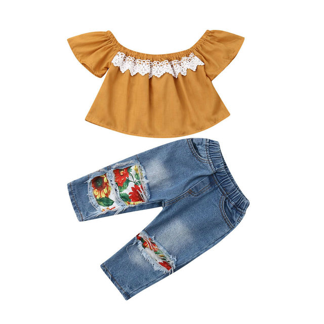 New 2PCS Toddler Kids Baby Girls Clothes Off Shoulder Lace Shirt Tops+Sunflowers Print Hole Denim Pants Outfits 1-5Y Casual