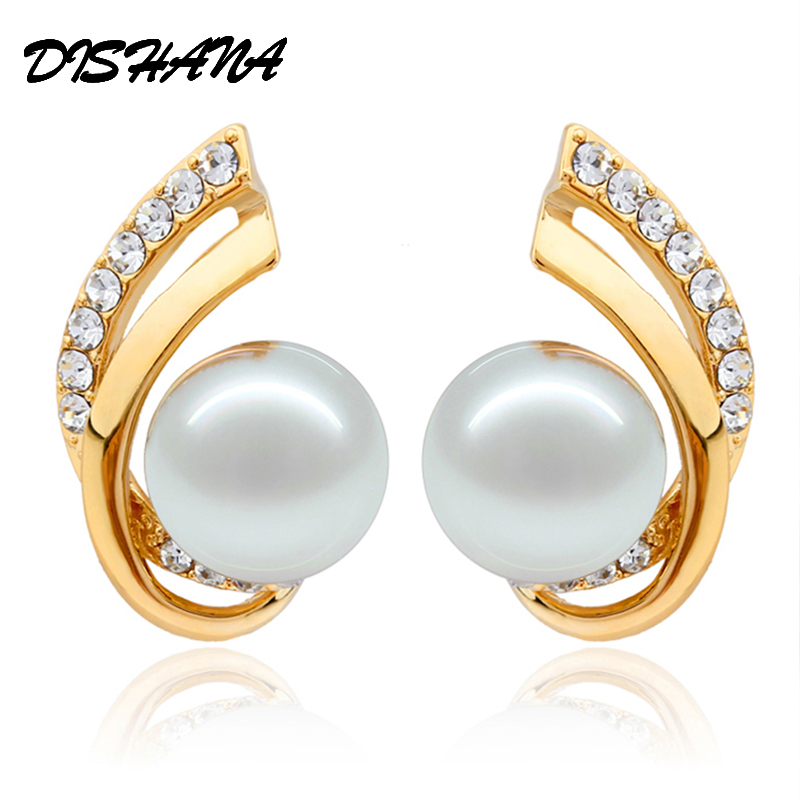 New 2015 vintage jewelry gold -color jewelry wedding statement pearl flight Bright star Drop Earrings(E0096) image