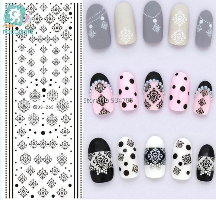 Rocooart DS265 Water Transfer Nails Art Sticker Winter Style Black Snowflake Nail Wraps Sticker Watermark Fingernails Decals 2016 1 sheet white color nails art sticker winter style white snowflake nail water transfer sticker fingernails decals