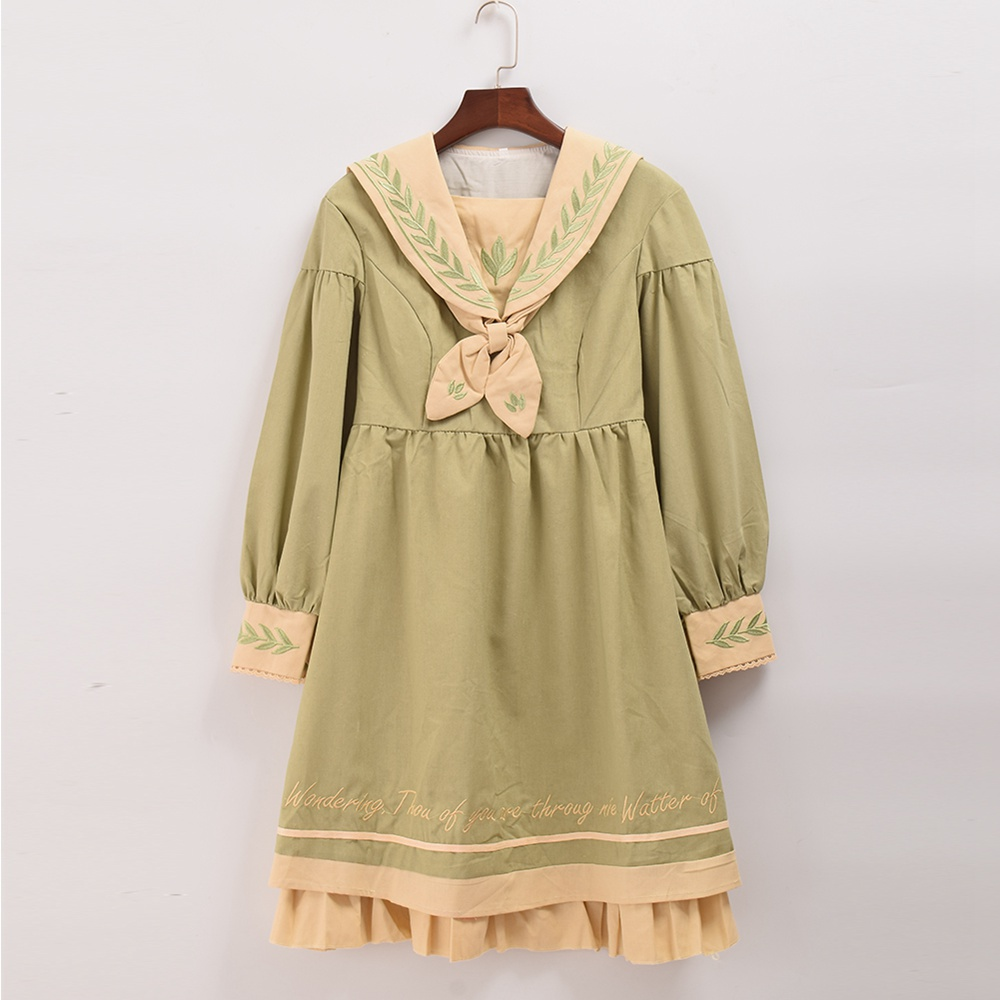 1pc Girls Cute Light Green Leaf Embroidery Sailor Collar with Bow Lolita Dress