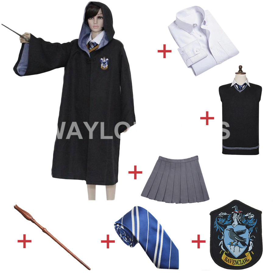 Free Shipping Ravenclaw Luna Lovegood Cosplay Robe Cloak Skirt Uniform for Harri Potter Cosplay