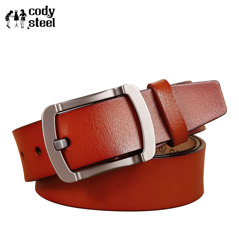 Cody Steel Leather Belt Men Cow Split Leather Pin Buckle Brand Belts For Man Retro Fashi ...