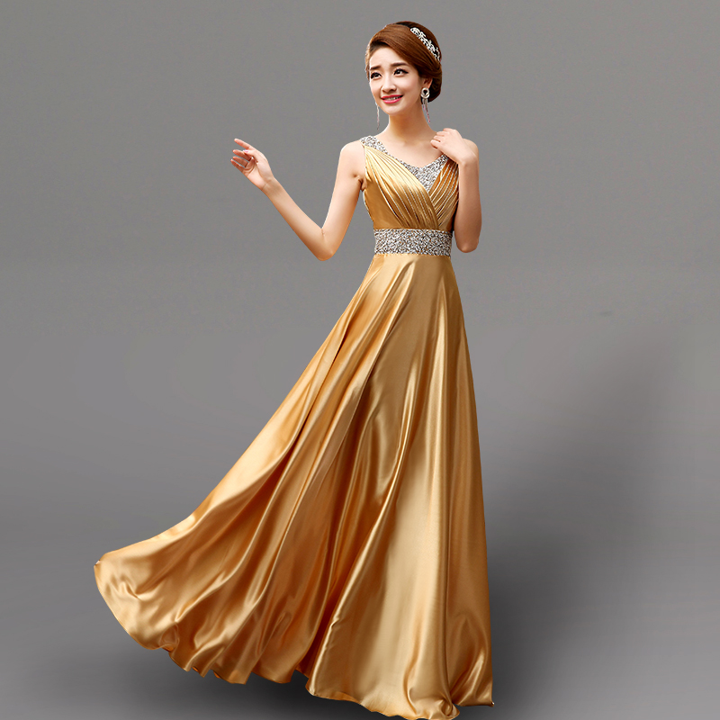 Popular Gold Satin Dress-Buy Cheap Gold Satin Dress lots from ...