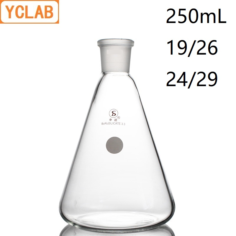 YCLAB 250mL 19/26 & 24/29 Erlenmeyer Flask Borosilicate 3.3 Glass Standard Ground Mouth Conical Triangle Labware