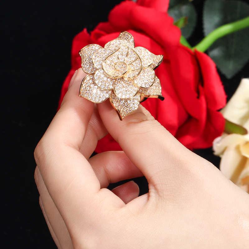 Cwwzircons cor de ouro amarelo coração forma flor nupcial casamento festa cz pulseira pulseiras e anéis conjuntos para noivas jóias t193