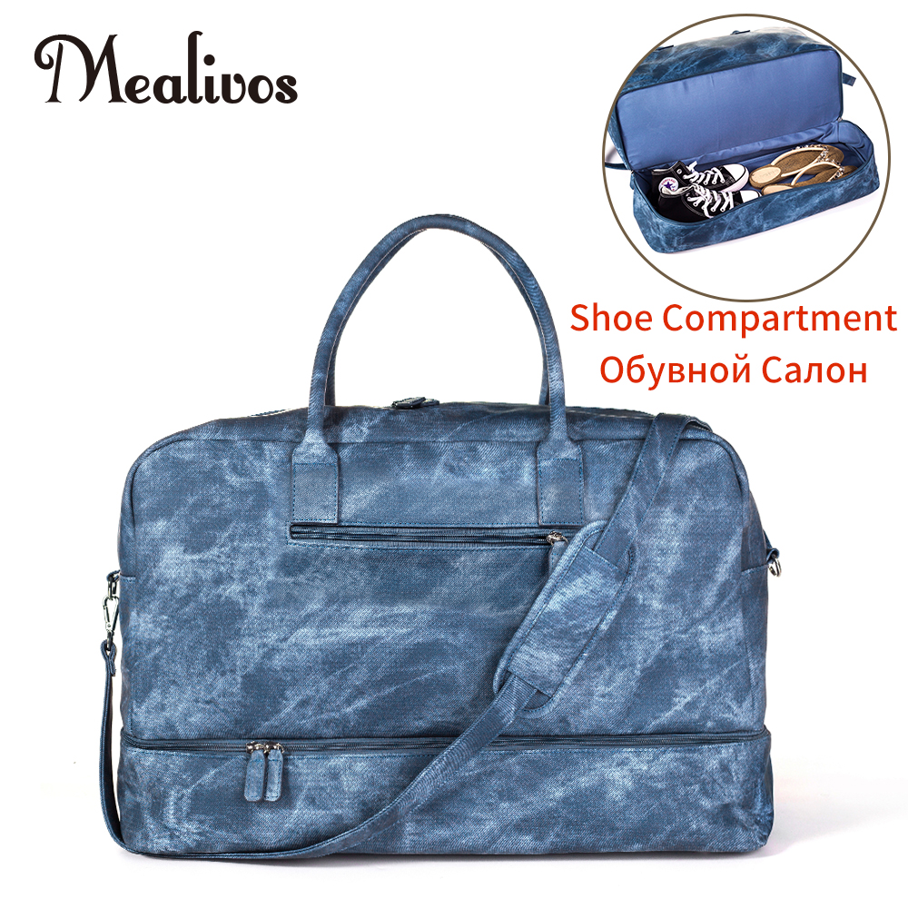 Mealivos Jean PU Fashion Women large Weekender Bag Overnight Travel bag Carry On Duffel with Shoe Pouch Duffel Bags mealivos men travel bag for luggage overnight travel bag carry on duffel with shoe pouch duffel bags big weekend bags