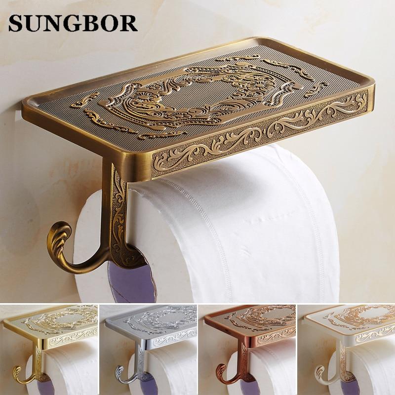 где купить Wholesale And Retail Antique Carving Toilet Roll Paper Rack Phone Shelf Wall Mounted Bathroom Paper Holder And hook GJ-11308 по лучшей цене