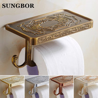 Wholesale And Retail Antique Carving Toilet Roll Paper Rack Phone Shelf Wall Mounted Bathroom Paper Holder