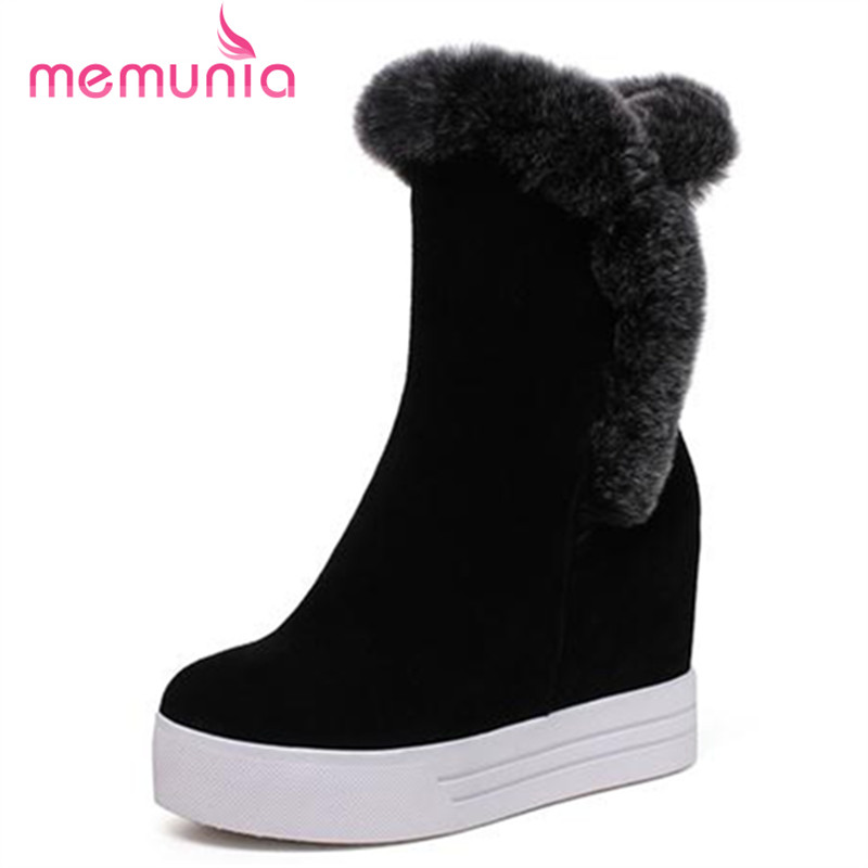 ФОТО MEMUNIA Ankle boots shoes women winter zip platform boots big size 32-40 cowhide leather boots fashion height increasing