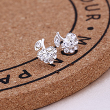 Mossovy Simple Apple Cubic Zirconia Silver Stud Earrings for Women Fashion Crystal Alloy Female Jewelry Aretes De Mujer