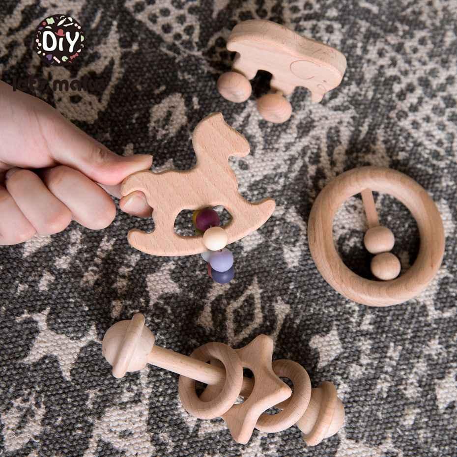 Let's Make 1 набор детские деревянные грызунки-погремушки для кроватки мобильные телефоны мультяшная деревянная детская кровать подвесные погремушки игрушки Детские Прорезыватели