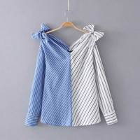Women Fashion White Blue Strip Blouse V Neck Ladies Elegant Tops Clothing Shirts Tops Female Clothes