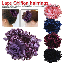 New Fashion Elegance Women Hair Accessories Simulation Flower Rubber Band Camellia Rose Attached to Elastic Bands