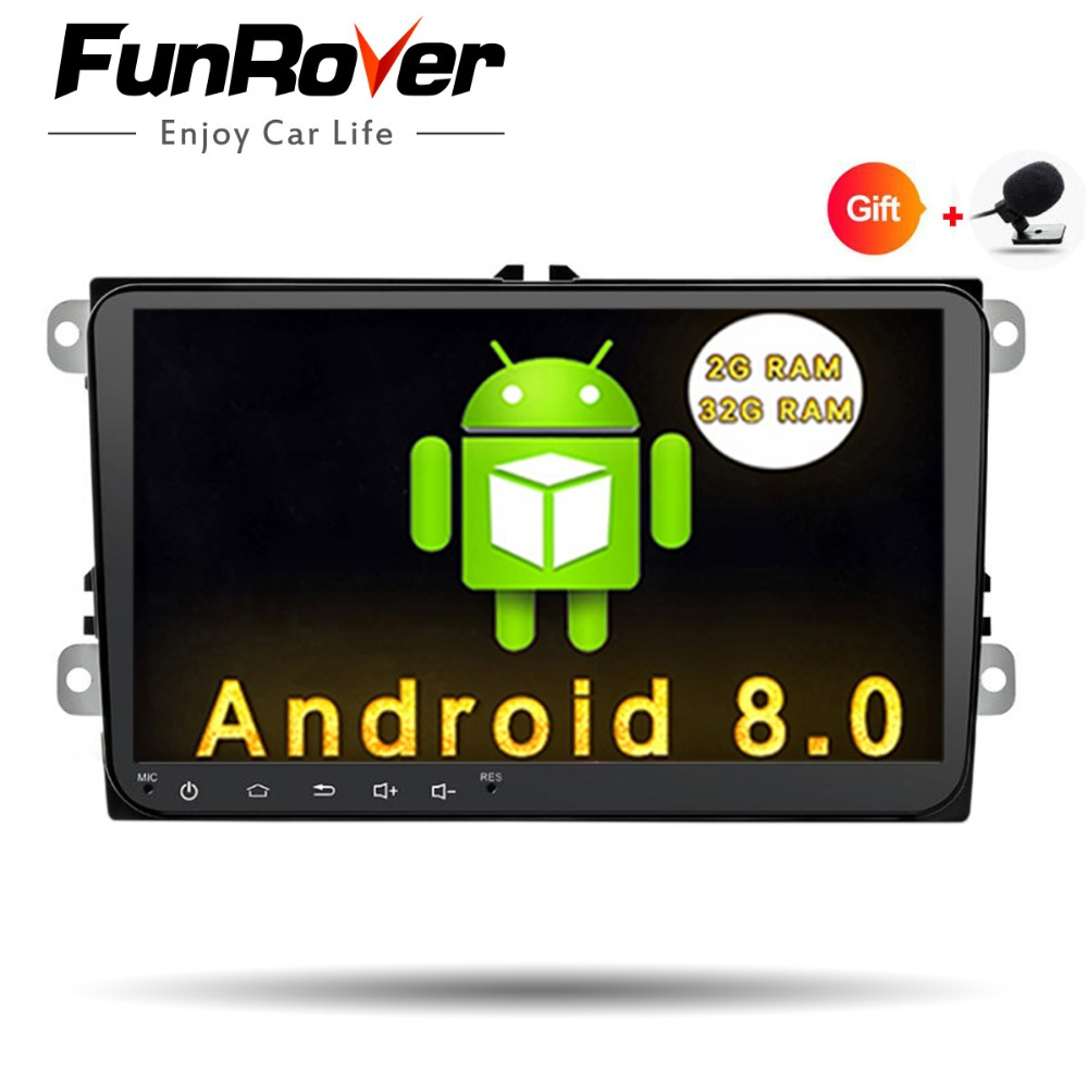 Funrover 2 din Car Dvd Radio Player Android 8.0 stereo autoradio wifi For Volkswagen Golf Tiguan Passat Polo Skoda Seat navi gps funrover android 8 0 two 2 din 9 inch car dvd player stereo for vw volkswagen polo golf skoda octavia seat radio wifi usb no dvd