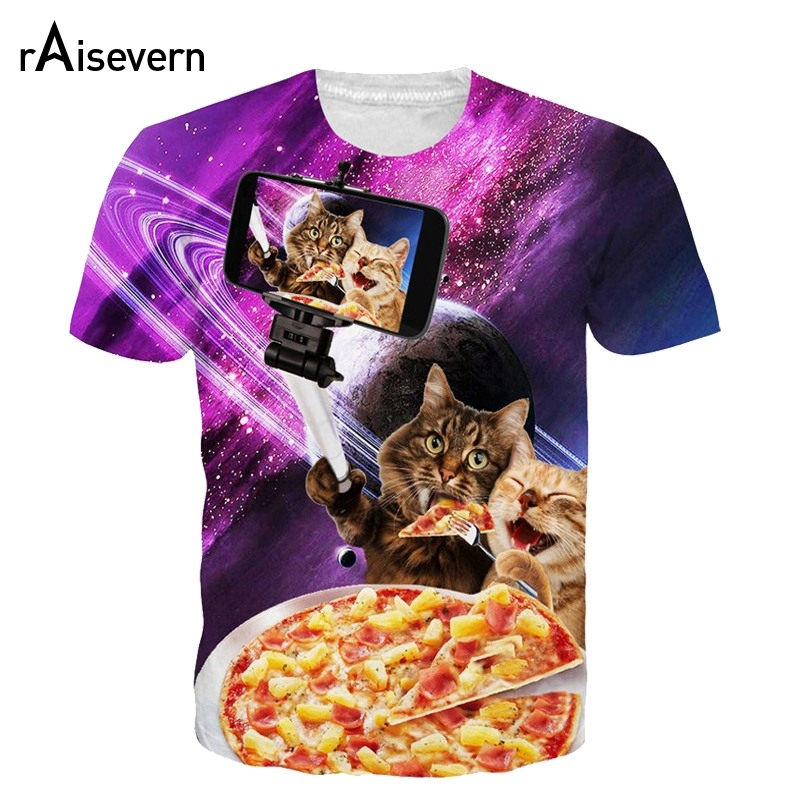 Raisevern verano camiseta 3d divertido selfie pizza cat camiseta impresa tops de