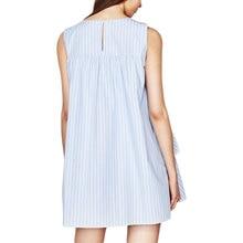 Blue V-neck Striped Ruffles Sleeveless Mini Dress SF