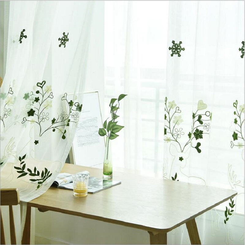 Green Curtains Kitchen Textile-Decoration Sheer Tulle Pastoral Transparent Home For Bedroom