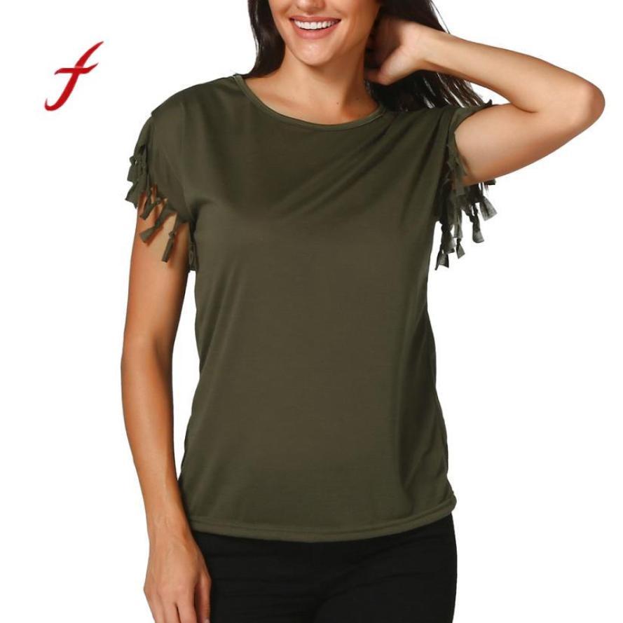 Feitong Women Sexy Fringe Tassel Top Womens Tops Short Sleeve Round Neck Elegant Womens Tops camiseta mujer