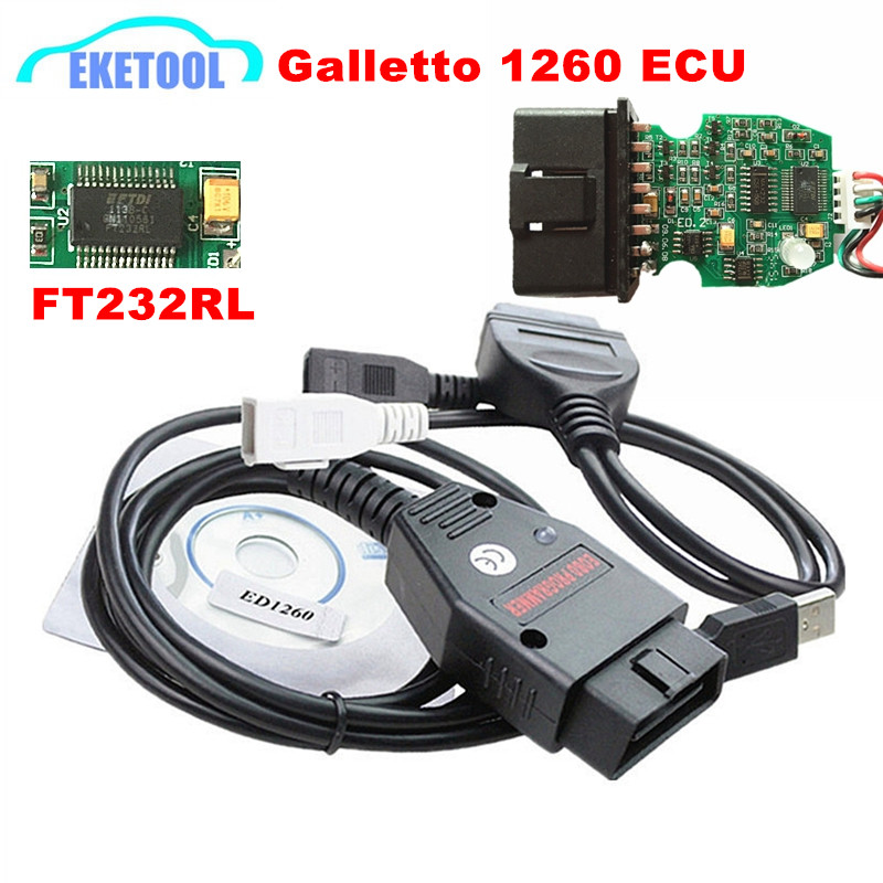 Prix pour Professionnel Galletto 1260 FT232RL Auto ECU Chip Tuning Interface OBD2 EOBD ECU Flasher Diagnostic Connecteur 1260 OBDII Flasher