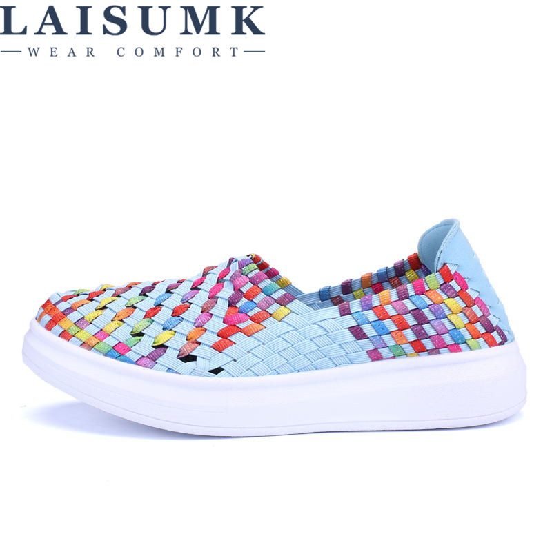 2019 LAISUMK Woman Casual Shoes Walking Fashion New Arrivals Breathable Weaving Women Superstar Summer Sneakers Shoes in Women 39 s Vulcanize Shoes from Shoes