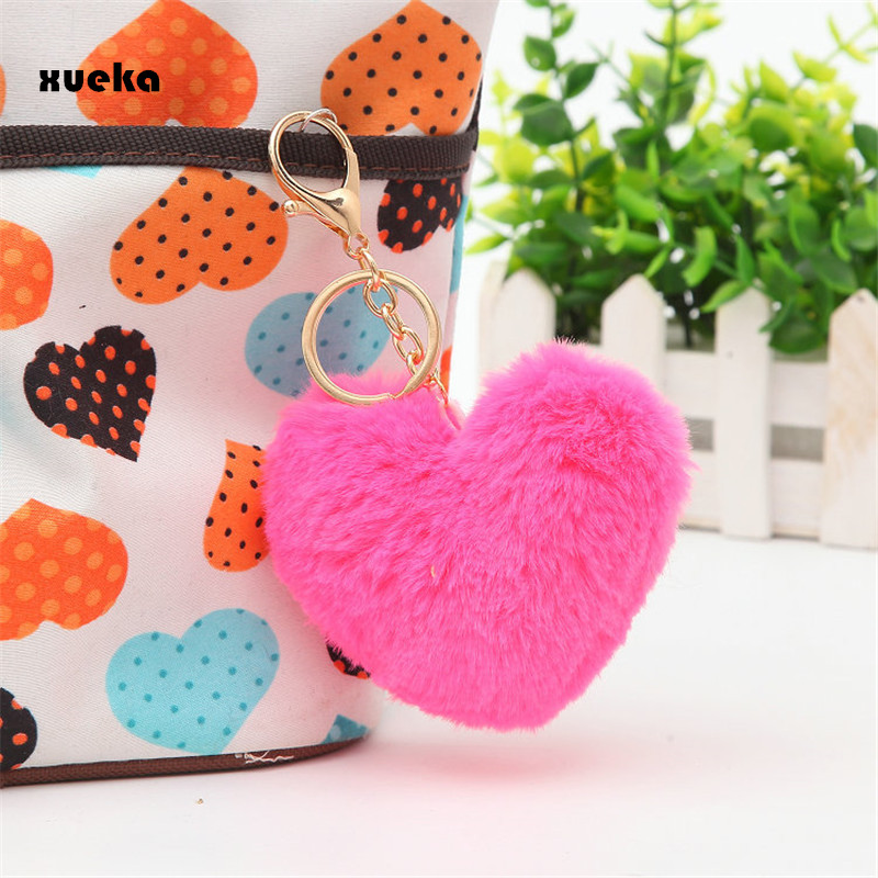 Hot selling 8CM Length Lovely Heart Shape Rabbit Fur Ball Golden Cell Phone Car Keychain Pendant Handbag PomPom Charm Key Ring
