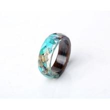 Wood & Resin Rings withVintageBlue Stones– Women & Men Jewelry