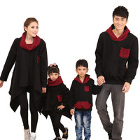 Family Matching Hoodies Dad Son Pullovers Mother Daughter Long Clothes Black Fashion Family Look Outing Wear